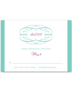 "A swirl frame wraps around ""RSVP,"" creating a simply classic look on this response card. Design and wording are printed in your choice of colors and fonts."