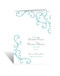 A stunning representation of nature's beauty and grace accompanies your wording on this playful wedding program. The front panel is printed with the swirl design, your names and event details.