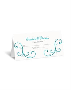 A stunning representation of nature's beauty and grace accompanies your wording on this playful place card. Design and wording are printed in your choice of colors and fonts.