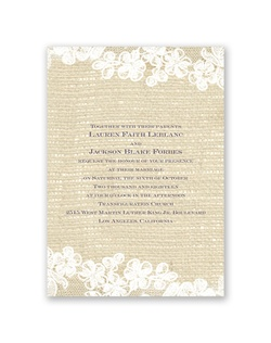 Beautiful white lace against a burlap-textured background makes this wedding invitation a unique combination of delicate design and rustic appeal.