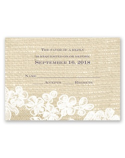 Beautiful white lace against a burlap-textured background makes this response card a unique combination of delicate design and rustic appeal.