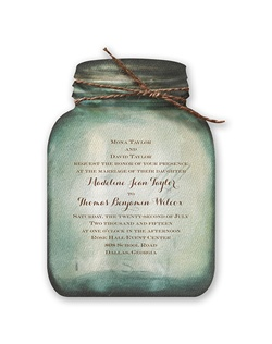 A watercolor canning jar becomes your sweet, country wedding invitation. The heavy weight, textured invitation comes pre-cut in the shape of canning jars for your convenience.