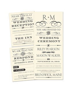 Invite everyone to your modern wedding in vintage poster style with this affordable 3 for 1 wedding invitation. The typography design and your wording are printed in your choice of ink color and lettering styles. The 3 for 1 wedding invitation includes three pieces - a wedding invitation, response card and reception card - all for one low price.