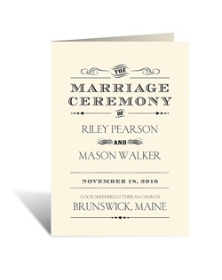 Vintage-inspired yet perfect for your modern wedding style, this ecru wedding program is a fun combination of old and new. The two inside panels of this folding program allow plenty of room for personalizing with your wedding details.