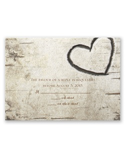 "his birch wood response card is ""carved"" with a heart above your wording. The heavy weight, textured card is printed with your wording in your choice of colors and lettering styles."