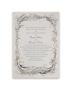 This charming wedding invitation says opulence with its deep embossing, silver foil and taupe filigree border. The ecru shimmer paper provides a glistening background to your invitation wording, printed in your choice of ink color and up to two lettering styles.