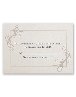 This charming respond card has vintage flair!The ecru shimmer paper provides a glistening background to your invitation wording, printed in your choice of ink color and up to two lettering styles.