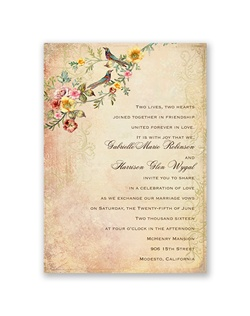 Vintage florals and flourishes in a gorgeous, sunset color palette form an extraordinary setting for two birds to perch beside your wedding details. Your wording is printed in your choice of colors and lettering styles.