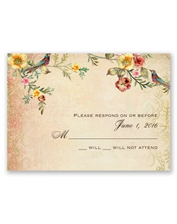Vintage florals and flourishes in a gorgeous, sunset color palette form an extraordinary setting for two birds to perch above your wording on these vintage response cards.