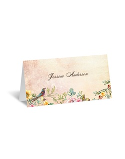Vintage florals and flourishes in a gorgeous, sunset color palette form an extraordinary setting for two birds to perch on this beautiful place card.