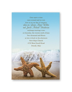 A pair of romantic starfish at the beach sets the tone for your own tropical wedding or beach wedding! The colorful photograph forms the background for the entire wedding invitation.