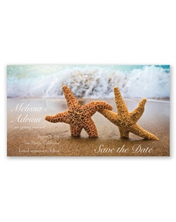 This unique save the date magnet makes sure guests will remember your wedding date. A photo of starfish accents this white card magnet.