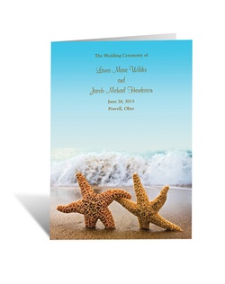 A pair of romantic starfish by the ocean sets the tone for your own beach wedding or destination wedding! A colorful photograph forms the background for your wording on the front of this wedding program.