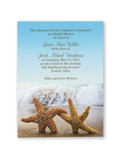 A pair of romantic starfish at the beach sets the tone for your beach-theme bridal shower! The colorful photograph forms the background for the entire bridal shower invitation.