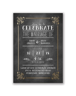 The trendy look of chalkboard with the elegant shimmer of a gold foil border makes this foil wedding invitation truly eye-catching! The two-sided invitation features your photo within a white filigree frame with your names and wedding date on the back.