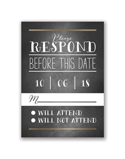 The trendy look of chalkboard with the elegant shimmer of a gold foil border makes this foil response card truly eye-catching!