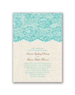 Luxurious lace is layered with iridescent glitter, providing a subtle sparkle against the rustic burlap background of this real glitter wedding invitation. The back of this double-sided invitation features a lace border above your names.