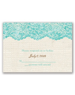 Luxurious lace is layered with iridescent glitter, providing a subtle sparkle against the rustic burlap background of this real glitter response card.