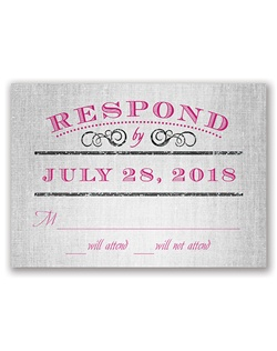 "A typography layout with sparkling iridescent glitter turns this vintage response card into a modern beauty. ""Respond by"" is printed in the fonts shown in your choice of color."