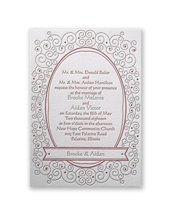 Soft swirls wind their way around your wedding details, giving this letterpress wedding invitation a whimsical quality that will delight your wedding guests. Design and wording are printed in your choice of colors and fonts.