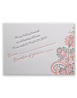 Your love for vintage lace is displayed with beauty and imagination on this letterpress response card. Design and wording are printed in your choice of colors and fonts.