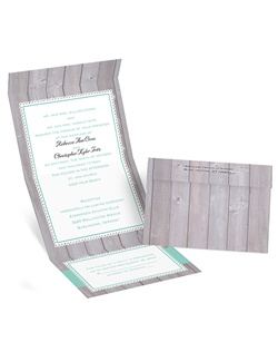 For a handmade look without the fuss of DIY, choose this seal and send invitation. The scalloped frames and grosgrain ribbon patterns accent your wording, which is printed in your choice of imprint colors and lettering styles. The frame borders and ribbons are printed in the main imprint color you choose for your wording. The invitation features a perforated response card printed with your return address on one side and your response wording on the other.
