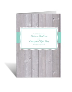 For a handmade look without the fuss of DIY, choose this rustic fence wedding program with grosgrain ribbon accent. The two inside panels allow plenty of room for personalizing with your wedding details.