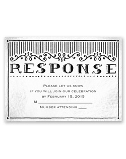"""Response"" appears sketched above your wording on this black and white response card. Your wording is printed in your choice of colors and lettering styles."