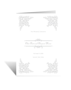 When we envision vintage-style accents, the filigree frame on this wedding program is exactly what we imagine! The two inside panels of this folding program allow plenty of room for personalizing with your wedding details.