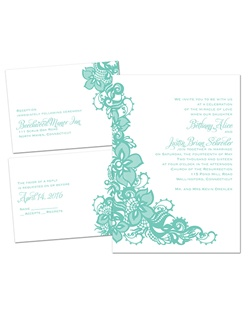 A large band of intricate lace sweeps beside your wording on this very affordable, 3 for 1 wedding invitation. Wording and design are printed in your choice of color and fonts. The 3 for 1 wedding invitation includes three pieces - a wedding invitation, response card and reception card - all for one low price.