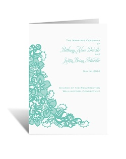 ntricate floral lace becomes a romantic accompaniment to your wording on this elegant wedding program. The two inside panels of this folding program allow plenty of room for personalizing with your wedding details.
