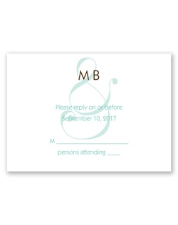 Suddenly an ampersand takes on a whole new meaning on this white response card featuring your monogram and a charming ampersand design. The ampersand prints in the same color as your first line of wording. Your wording is printed in your choice of colors and lettering styles.