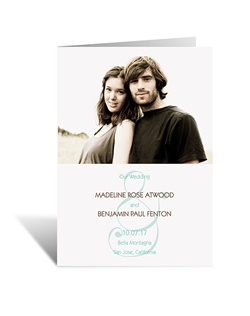 Suddenly an ampersand takes on a whole new meaning! This wedding program features your photo, wording and charming ampersand design. The two inside panels of this folding program allow plenty of room for personalizing with your wedding details.