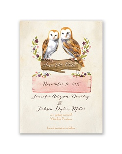 So beautiful it's almost poetic, this vintage owls save the date will make your wedding guests stop and take notice of your unique sense of style. Your wording is printed in your choice of colors and fonts.