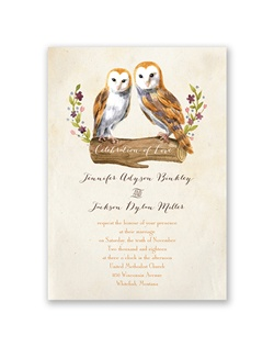 So beautiful it's almost poetic, this vintage owls wedding invitation will make your wedding guests stop and take notice of your unique sense of style. The two-sided card features a matching floral design with your names and wedding date on the back.