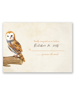 So beautiful it's almost poetic, this vintage owl response card will make your wedding guests stop and take notice of your unique sense of style. Your wording is printed in your choice of colors and fonts.