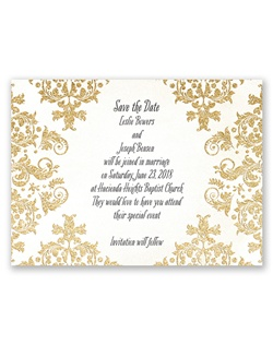 A dazzling pattern of damask in gold faux glitter lends a luxurious look to this vintage save the date card. Your wording is printed in your choice of colors and fonts.