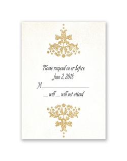 A gold, faux glitter damask design frames your wording on this vintage response card. Your wording is printed in your choice of colors and fonts.
