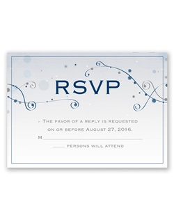 "A starry design highlights the ""RSVP"" design on this response card. Your wording is printed in your choice of colors and lettering styles"