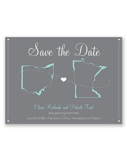 State your love for each other and pride in your home states with this truly special photo save the date. The states and your wording are printed in your choice of colors and lettering styles on the front.