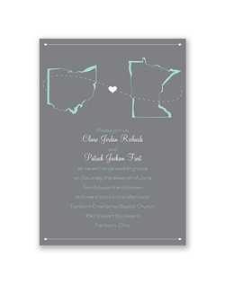 State your love for each other and pride in your home states with this truly special wedding invitation. The states and your wording are printed in your choice of colors and lettering styles on the front.
