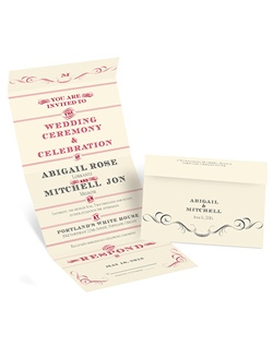 The unique wording layout of this ecru seal and send invitation is like a vintage poster, announcing your upcoming wedding in unique style! Your initial, names, wedding date, wedding location and response and address wording are printed in your choice of imprint colors and lettering styles.