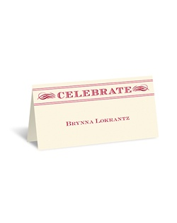 "The unique layout of this ecru place card is like a vintage poster, displaying your guests' names in unique style! ""Celebrate"" is printed as shown. The design and your wording are printed in your choice of colors and fonts."