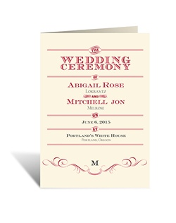 "The unique layout of this ecru wedding program is like a vintage poster, displaying your ceremony details in unique style! ""The Wedding Ceremony"" is printed as shown on the front and inside panels. The two inside panels of this folding program allow plenty of room for personalizing with your wedding details."