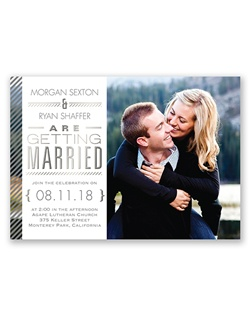 Your photo paired with a unique typography layout featuring beautiful silver foil is nicely complemented by the pinstriped border on this foil wedding invitation. Your monogram appears with a matching pinstripe design on the back of this two-sided card. Select wording is printed in your choice of colors and fonts.