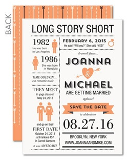 Let playful infographics tell your love story. (Your guests won't forget this fun way to save the date!)