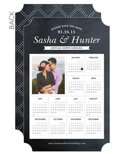 Save your date with a modern calendar design. Guests will delight in the striking font and photo of the two of you.