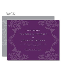 Fit for royalty. Filigree patterns and rich purple meet in this beautifully vintage design.