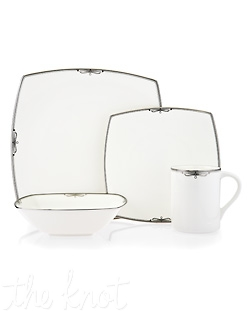 Platinum Ribbon gracefully combines a modern square shape with classic design to create a unique yet timeless look. The striking bone china pattern is decorated with a mix of platinum and pearlescent grey bands and delicate, raised platinum detailing to bring style and elegance to formal entertaining. Hand Wash Recommended.