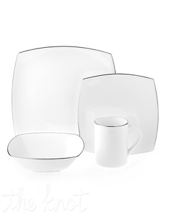 This distinctive bone china pattern combines classic, timeless platinum banding on a sleek and contemporary square shape. Perfect for updated formal entertaining. Hand wash recommended.